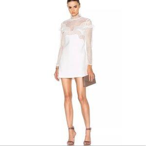 SELF-PORTRAIT white wave lace trim mini dress